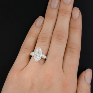 3 Stone 4.32 Ctw Marquise Cut & Pear Cut Diamond 2 Tone Engagement Ring Solid 14k Yellow Gold