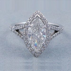 2.55 Ctw White Marquise Diamond Halo With Split Shank Engagement Ring 14k Yellow Gold