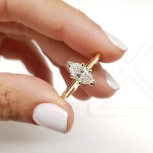 1.50 Carat Marquise Cut Diamond 6 Prong Set Solitaire Engagement Ring 14k Yellow Gold Over