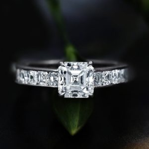 2.12 Ctw Asscher Diamond Solitaire With Channel Set Engagement Ring 925 Starling Silver