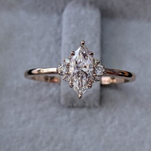 Solitaire 6 Prong 2.30Ctw Marquise Diamond Beautiful Engagement Ring 14K Rose Gold