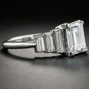 2.00 Ctw Solitaire Emerald Cut Diamond Side Stone Engagement Ring 14K White Gold Plated