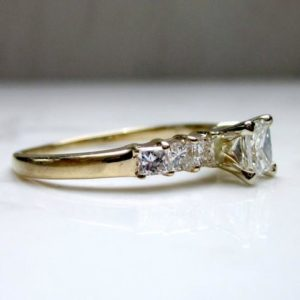 1.85 Ctw Solitaire 7-Stone Princess Diamond Engagement Ring 14K Yellow Gold Plated