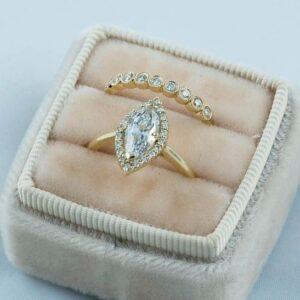 2.10 Ctw Marquise Diamond Luxury Engagement Ring Wedding Band 10K Yellow Gold