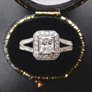 2.10 Ctw Radiant Cut Diamond Halo With 2 Shank Engagement Ring 925 Sterling Silver