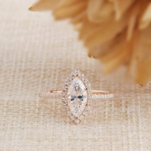 1.50 Ctw Marquise Cut Diamond Halo With Accents Engagement Ring 10K Rose Gold
