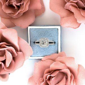 2.37 Ctw Forever Princess Diamond Split Shank Engagement Ring Solid 10k White Gold