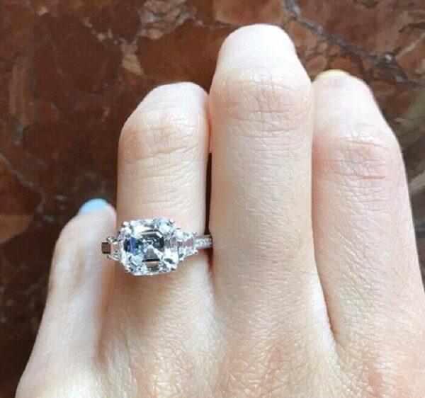 3.00Ctw Asscher Cut Diamond Side Stone Fancy Engagement Ring Solid 10K White Gold
