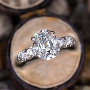 2.40 Ctw Oval Cut & Side Round Diamond Unique Engagement Ring Solid 10K White Gold