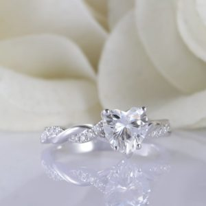 1.80 Ctw Heart Shape Solitaire Diamond Infinity Wedding Engagement Ring 925 S Silver