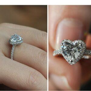 2.10 Ctw Heart Shape White Diamond Halo Engagement Ring 14k White Gold Plated