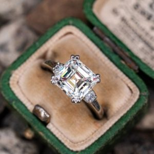 3.00 CT Solitaire Asscher Cut Diamond Engagement Ring Real 925 Sterling Silver