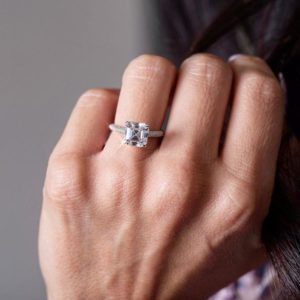 2.58 Ctw Asscher Cut Brilliant Diamond Micro Pave Fancy Engagement Ring Solid 14k White Gold