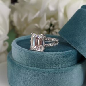 3.00 Carat Emerald Cut Diamond Solitaire With 2 Shank Engagement Ring 14k White Gold