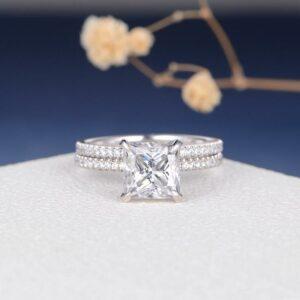 2.70 Ctw Princess Cut Diamond Hidden Halo Engagement Ring Set 14k White Gold Finish