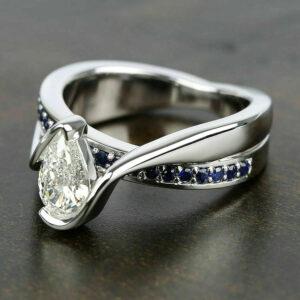 2.18 Ctw Half Bezel Pear Shape Diamond Fancy Wedding & Engagement Ring 14K Gold Plated