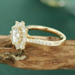 2.30 Ctw Round Cut Diamond Flower Halo Wedding Engagement Ring 10k Yellow Gold