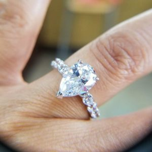 3.10 Ctw Solitaire Pear Shape Diamond Classic Accents Fancy Engagement Ring Real 14k White Gold
