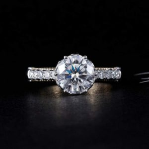 Art Deco Style 2.55 Ctw Round Diamond Solitaire Engagement Ring Real 925 Sterling Silver