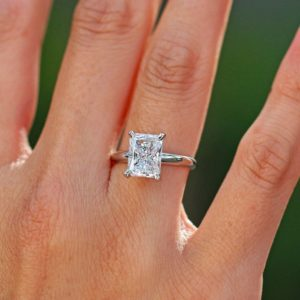 3.00 Carat Radiant Cut Fancy Diamond Solitaire Engagement Ring Real 925 Sterling Silver