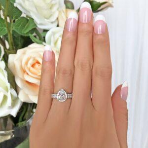 2.50 Ctw White Pear Shape Diamond Halo Engagement Ring Bridal Set Real 14k White Gold