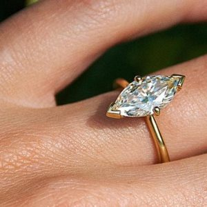 1.78 Ctw Fancy Marquise Cut Diamond V-Prong Solitaire Engagement Ring 14k Yellow Gold Over