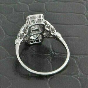 Art Deco Vintage 2.80 Ctw Cushion Cut 2-Stone Diamond Engagement Ring 14k White Gold Over