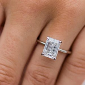 3.00 Carat Emerald White Diamond Solitaire Fancy Engagement Ring Real 14k White Gold