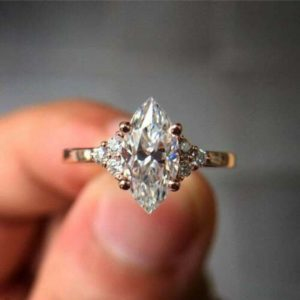 2.31 Ctw Marquise Cut VVS1 Diamond Side Stone Fancy Engagement Ring 14k Gold Plated