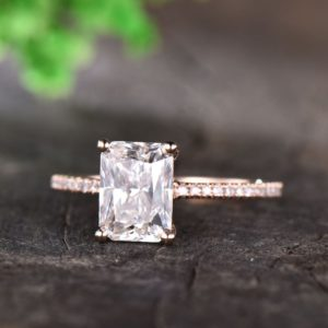 2.60 Ctw Radiant Cut White Diamond Wedding Engagement Ring 14k Rose Gold Plated