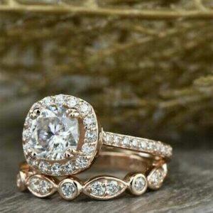 2.70 Ctw Cushion Cut Diamond Halo Bridal Set Engagement Ring Set 14k Rose Gold Over