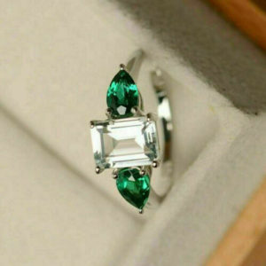 2.60 Ctw Emerald & Round Cut Solitaire Diamond With Accent Engagement Ring 14K Gold Plated