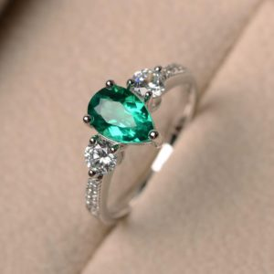 2.83 Ctw Green Emerald Pear Cut & Side Round Diamond Engagement Ring 14k Gold Plated