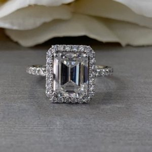 Gorgeous 3.00 Ctw Emerald Cut White Diamond Halo Engagement Ring 14k White Gold Plated