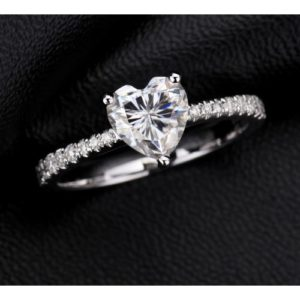 Valentines Ring 2.06 Carat Solitaire Heart Shape Diamond Proposal Engagement Ring 925 S Silver