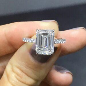 Huge 3.00CT Emerald Cut White Diamond Fancy Wedding Engagement Ring Real 14k White Gold