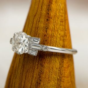 Antique 2.38 Ctw Round Cut Diamond With Baguette Diamond Engagement Ring 14k Gold Over