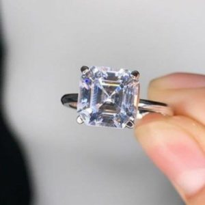 2.Carat Asscher Cut White Diamond Solitaire Engagement Ring 925 Sterling Silver -Gift Ring For Her