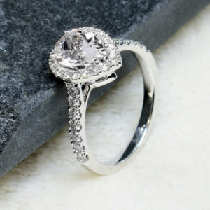 2.55 Ctw White Pear Shape Diamond Halo Accents Best Engagement Ring 10k White Gold