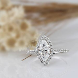 2.15 Ctw Marquise Cut White Diamond Halo Wedding & Engagement Ring Solid 14k White Gold