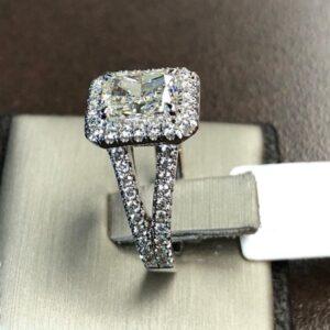 2.53 Ctw Radiant Cut White Diamond Halo 2-Shank Luxury Engagement Ring Solid 14k White Gold