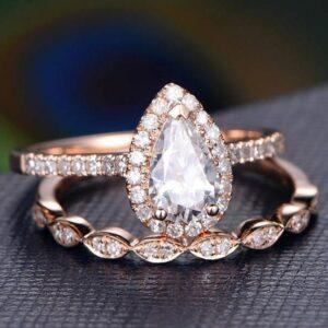 2.16 Ctw Pear White Diamond Engagement Ring Set Anniversary Gift 14k Rose Gold Over