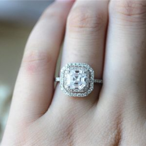 2.05 Ctw Center Asscher Cut White Diamond Double Halo Fancy Engagement Ring 10k White Gold
