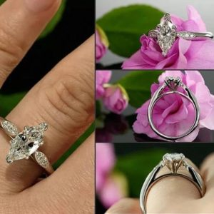 1.96 Ctw Brilliant Marquise Cut Diamond Simple-Solitaire Engagement Ring Solid 10k White Gold