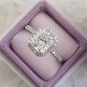 3.12 Ctw White Radiant Cut Diamond Halo With 3-Row Accents Engagement Ring 10k White Gold