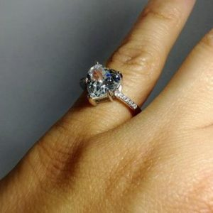 Big 3.18 Ctw Heart Shape Brilliant Diamond Solitaire Engagement Ring Real 14k White Gold