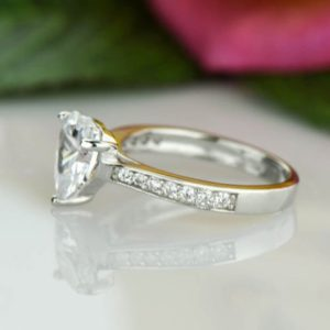 2.25 Ctw White Heart Shape Diamond Solitaire Fancy Engagement Ring Solid 10K White Gold