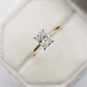 Classic 2.06 CT Radiant Cut Diamond Best 2-Tone Solitaire Engagement Ring Solid 14k Yellow Gold