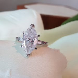 Gorgeous 3.16 Ctw Solitaire Marquise Cut Diamond Engagement Ring 10k White Gold