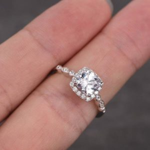 Antique 2.26 Ctw Cushion Cut Diamond Vintage Engagement Ring Real 925 Sterling Silver